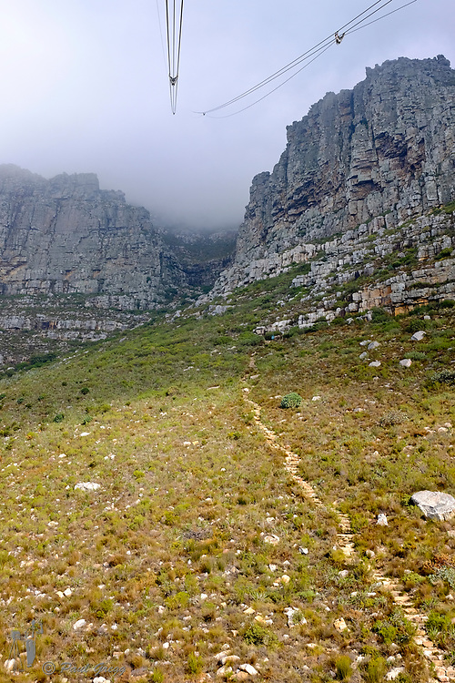Table Mountain,Cape Town, South Africa. From the cable car as it exits the top station on it's decent through the clouds. The hiking path leading up to the contour can also be seen.