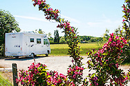 Motorhome camping overnight at France Passion organic vineyard in Centre, France.