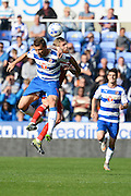 Reading striker Orlando Sa and Middlesbrough midfielder Adam Clayton challenge for a header during the Sky Bet Championship match between Reading and Middlesbrough at the Madejski Stadium, Reading, England on 3 October 2015. Photo by Alan Franklin.