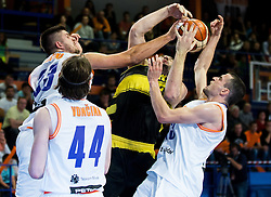 Vasileios Kavvadas of Aris between Tomaz Bolcina #33 of Helios Suns and Djordje Lelic #13 of Helios Suns during basketball match between KK Helios Suns (SLO) and Aris B.S.A.-2003 (GRE) in Round #1 of FIBA Champions League 2016/17, on October 18, 2016 in Sports arena Domzale, Slovenia. Photo by Vid Ponikvar / Sportida