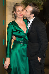 Photo Must Be Credited ©Alpha Press<br /> Elise Du Toit and Husband Rafe Spall<br /> arrives at the EE British Academy Film Awards after party dinner at the Grosvenor House Hotel in London.