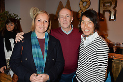 Left to right, DAVID LINDSAY, his wife SARAH LINDSAY and KIM DUFOUR of ESF Meribel at a Fondue evening hosted by Rose van Cutsem and her brother Tom Astor to celebrate the new ski Season with leading ski resort Meribel, Besson Clothing and ESF ski schools at Maggie & Rose, 58 Pembroke Road, London on 7th November 2016.