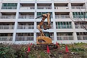 Kasumigaoka Apartments, government housing near the site of the new Olympic Stadium have been cleared for Olympic redevelopment despite protests from residents . Gaienmae, Tokyo, Japan. Friday March 4th 2016