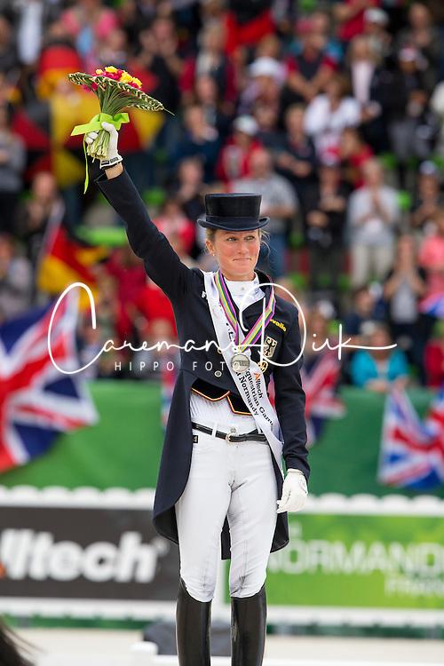 Helen Langehanenberg and Damon Hill NRW winning silver during the Grand Prix Special - Grand Prix Special Dressage - Alltech FEI World Equestrian Games™ 2014 - Normandy, France.<br /> © Hippo Foto Team - Leanjo de Koster<br /> 25/06/14
