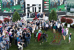 Always Dreaming with John R. Velazquez enter the winner's circle with the garland of roses after winning the 143rd running of the Kentucky Derby at Churchill Downs May 6, 2017.
