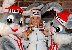16.02.2013, Ski Austria Haus, Schladming, AUT, FIS Weltmeisterschaften Ski Alpin, Slalom, Damen, Medaillenfeier, im Bild die WM Maskottchen Hopsi mit Michaela Kirchgasser (AUT, 2. Platz) // the WC Mascots called Hopsi with 3rd place Michaela Kirchgasser of Austria at the Medal Party for Ladies Slalom at the FIS Ski World Championships 2013 at the Ski Austria House, Schladming, Austria on 2013/02/16. EXPA Pictures © 2013, PhotoCredit: EXPA/ Erich Spiess