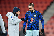 Chelsea assistant manager Gianfranco Zola Gonzalo with Higuain (9) of Chelsea during the warm up before the Premier League match between Bournemouth and Chelsea at the Vitality Stadium, Bournemouth, England on 30 January 2019.