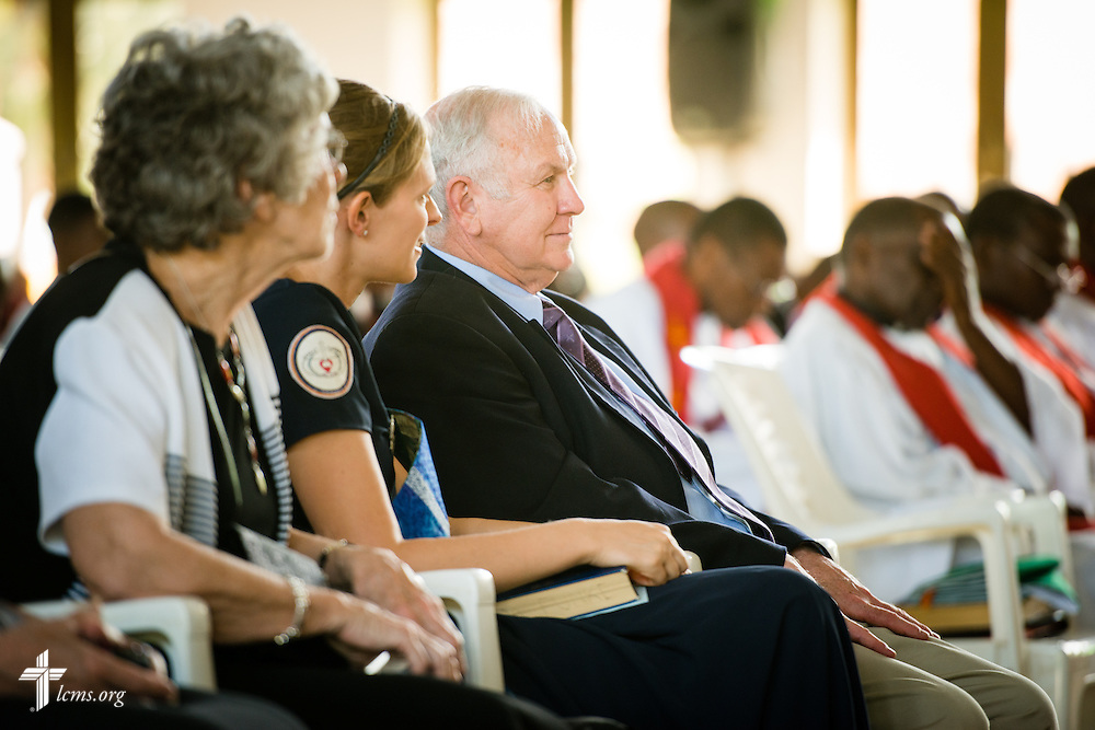 Bob Allen from the LCMS Mid-South District listens during a service on Sunday, March 15, 2015, at the Evangelical Lutheran Church in Tanzania – South-East of Lake Victoria Diocese's (ELCT-SELVD) Ebenezer Cathedral in Shinyanga, Tanzania. LCMS Communications/Erik M. Lunsford