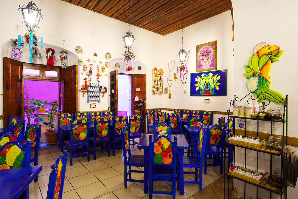 The decorative interior of Casa Ofelia restaurant in Guanajuato, México