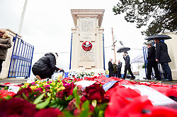 A general view of the plinth at the Memorial Stadium with players from Bristol Rovers, Bristol Bears and representatives from local clubs in attendance - Ryan Hiscott/JMP - 09/11/2018 - FOOTBALL - Memorial Stadium - Bristol, England - Memorial Stadium Remembrance Service