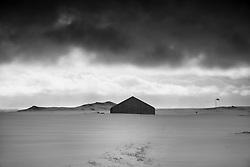 Airfield in snow storm, Vik in Myrdalur, Iceland - Flugvöllur Vík í Mýrdal