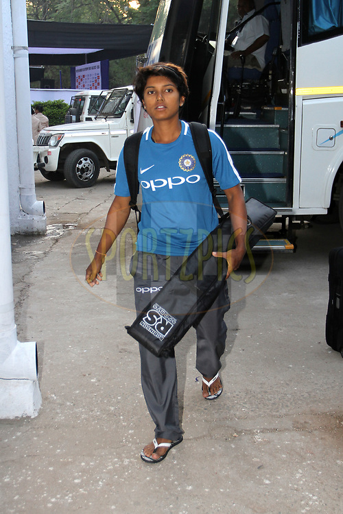 Punam Raut of India arrive on the ground for the first women's one day International ( ODI ) match between India and Australia held at the Reliance Cricket Stadium in Vadodara, India on the 12th March 2018<br /> <br /> Photo by Vipin Pawar / BCCI / SPORTZPICS