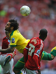 Norwich Bradley Johnson battles with Middlesbrough Albert Adomah, Middlesbrough v Norwich, Sky Bet Championship, Play Off Final, Wembley Stadium, Monday  25th May 2015