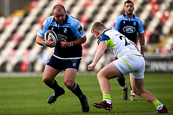 Brad Thyer of Cardiff Blues takes on Keiran Williams of Ospreys Guinness PRO14, Rodney Parade, Newport, UK 30/08/2020<br /> Cardiff Blues vs Ospreys<br /> <br /> Mandatory Credit ©INPHO/Robbie Stephenson