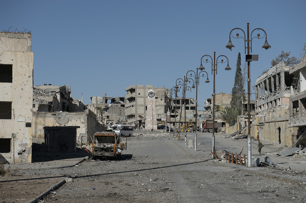 A war-damaged street in the center of the Syrian town of Raqqa that leads towards Clock Tower Square, that was a site where Islamic State killed people. Raqqa,Syria,October18,2017