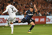 Leeds United midfielder Pablo Hernandez (19) blocks the ball during the EFL Sky Bet Championship match between Swansea City and Leeds United at the Liberty Stadium, Swansea, Wales on 21 August 2018.