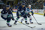 KELOWNA, CANADA - APRIL 26:  Jarret Tyszka #5 of the Seattle Thunderbirds, Aaron Hyman #6 of the Seattle Thunderbirds, Kole Lind #16 of the Kelowna Rockets at the Kelowna Rockets game on April 26, 2017 at Prospera Place in Kelowna, British Columbia, Canada.  (Photo By Cindy Rogers/Nyasa Photography,  *** Local Caption ***