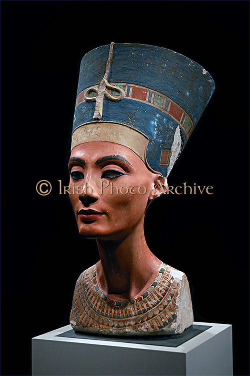 Nefertiti (14th century BC) queen-consort of Pharaoh Akenaton.  Portrait bust in the Egyptian Museum in the Altes Museum Berlin.