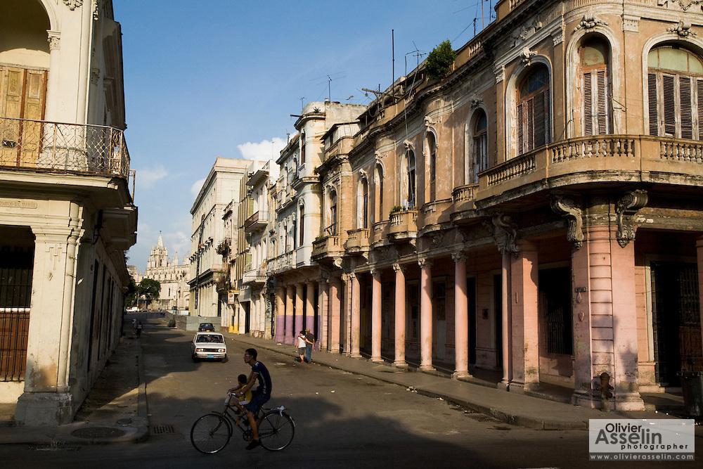 Run-down colonial buildings in Old Havana, Cuba on Sunday June 29, 2008.