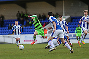 Forest Green Rovers Christian Doidge(9) is brought down by Chester's Ryan Astles(6) during the FA Trophy 2nd round match between Chester FC and Forest Green Rovers at the Deva Stadium, Chester, United Kingdom on 14 January 2017. Photo by Shane Healey.