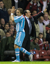 Liverpool, England - Wednesday, October 3, 2007: Former Liverpool player Boudewijn Zenden applauds the fans as he is substituted for Olympique de Marseille during the UEFA Champions League Group A match at Anfield. (Photo by David Rawcliffe/Propaganda)