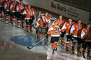 RIT Senior Captain Celeste Brown is introduced before an exhibition game against Pursuit of Excellence, a junior team from British Columbia, at RIT's Gene Polisseni Center on Monday, September 29, 2014.
