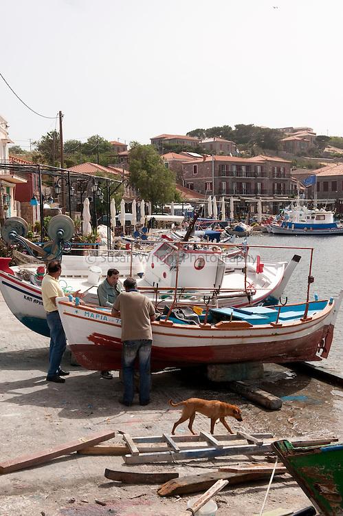 The port of Molivos, Lesbos Island, Greece