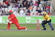 Lancashires Arron Lilley reverse sweep during the Vitality T20 Blast North Group match between Lancashire Lightning and Birmingham Bears at the Emirates, Old Trafford, Manchester, United Kingdom on 10 August 2018.