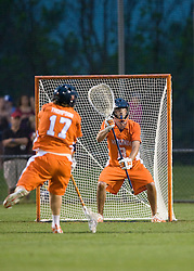 Virginia Goalie Bud Petit (8) for UVA.  The #3 ranked Virginia Cavaliers defeated the #8 ranked Maryland Terrapins 11-8 in the semi finals of the Men's 2008 Atlantic Coast Conference tournament at the University of Virginia's Klockner Stadium in Charlottesville, VA on April 25, 2008.