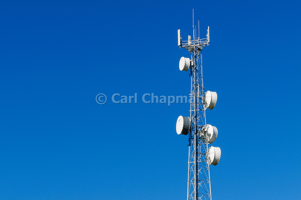 Antennas for rural cellular, microwave and communications  mobile telephone system on a triangular lattice tower in country Victoria, Australia.