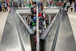 MIDRAND, April 28, 2016 (Xinhua) -- People visit the Mall of Africa in Midrand, near Johannesburg, South Africa, on April 28, 2016. The Mall of Africa, the largest shopping mall in South Africa, officially opened here Thursday, with 130,000 square meters of retail space available. The Mall is home to over 300 shops of local and international brands, many of which are flagship stores. Streams of visitors came to the Mall for the promotions given by the shops on the opening day. (Xinhua/Zhai Jianlan) (Credit Image: © Zhai Jianlan/Xinhua via ZUMA Wire)