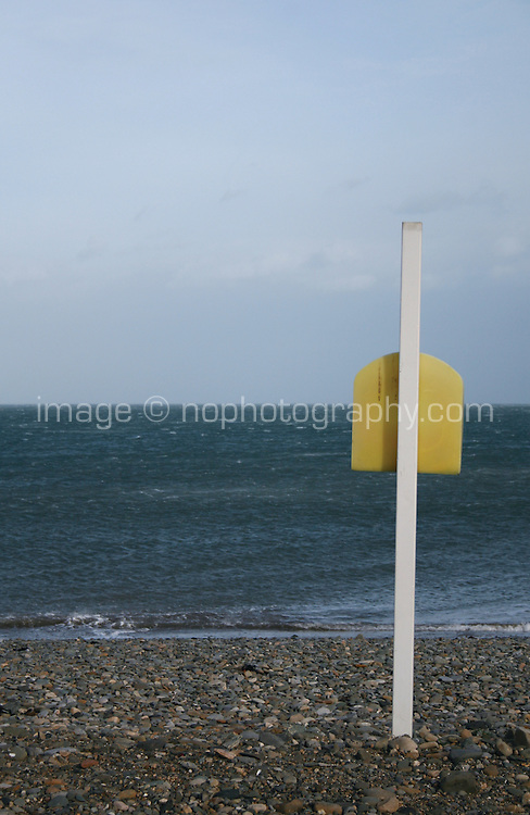 Life ring on post at Bray seafront in Wicklow Ireland