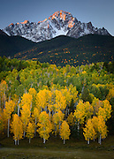 An autumn sunrise on Mount Sneffels in the San Juan Mountains of Colorado.