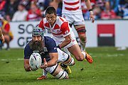 Scotland's Josh Strauss during the Rugby World Cup Pool B match between Scotland and Japan at the Kingsholm Stadium, Gloucester, United Kingdom on 23 September 2015. Photo by Shane Healey.