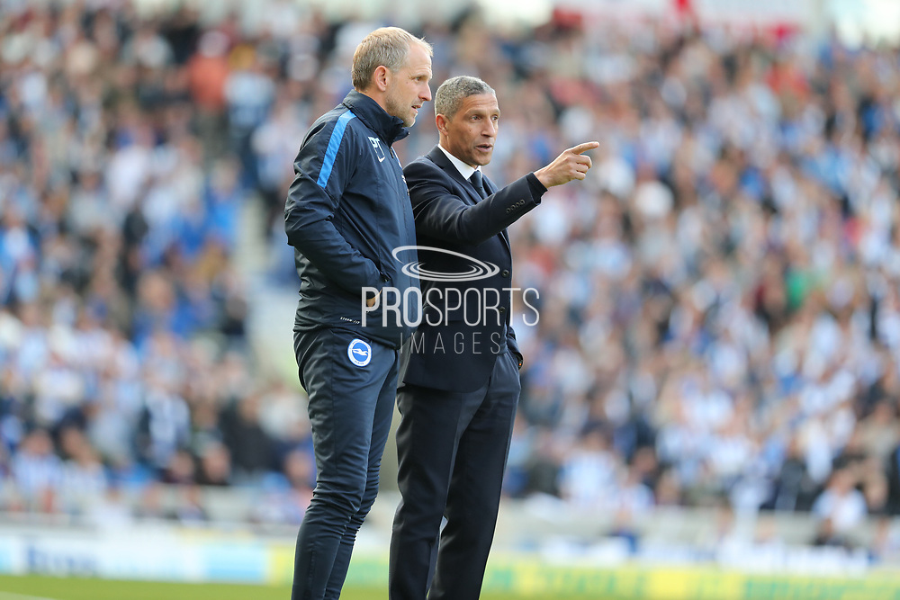 Brighton Manager, Chris Hughton and Brighton Assistant Manager, Paul Trollope during the EFL Sky Bet Championship match between Brighton and Hove Albion and Bristol City at the American Express Community Stadium, Brighton and Hove, England on 29 April 2017.