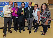 Houston ISD Superintendent Richard Carranza poses for a photograph with school staff during a stop of the Listen & Learn tour at Black Middle School, September 20, 2016.