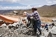 Miners working the tailings on Cerro Rico in Potosi, Bolivia.