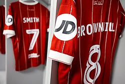 Shirt of Josh Brownhill of Bristol City hangs in the Bristol City away dressing room - Rogan/JMP - 09/01/2018 - Etihad Stadium - Manchester, England - Manchester City v Bristol City - Carabao Cup Semi Final First Leg.