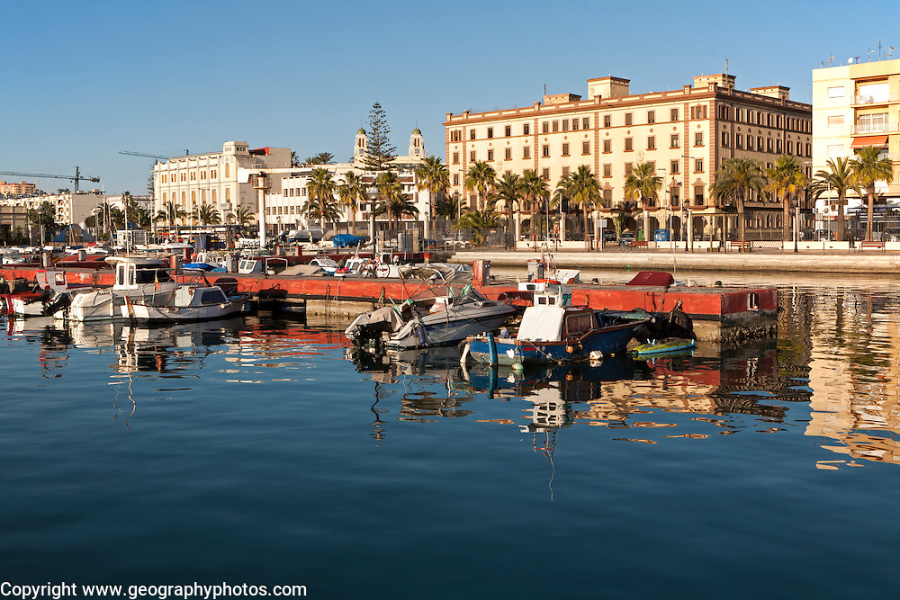 Boats in harbour and town centre buildings, Melilla. Spanish territory in north Africa, Spain
