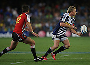Jean de Villiers swings the ball down the line during the Super Rugby (Super 15) fixture between the DHL Stormers and the Lions held at DHL Newlands Stadium in Cape Town, South Africa on 26 February 2011. Photo by Jacques Rossouw/SPORTZPICS