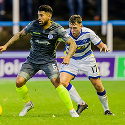 Mark Russell (17) of Greenock Morton challenges Callum Tapping (6) of Queen of the South during the Ladbrokes Scottish Championship game between Greenock Morton and Queen of the South at Cappielow Park on 4th November 2017 in Greenock, Scotland.   (c) BERNIE CLARK   SportPix.org.uk