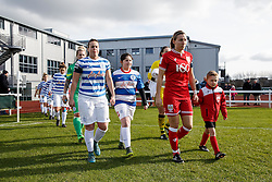 Grace McCatty (capt) of Bristol City Women leads out her side with a young mascot - Mandatory byline: Rogan Thomson/JMP - 14/02/2016 - FOOTBALL - Stoke Gifford Stadium - Bristol, England - Bristol City Women v Queens Park Rangers Ladies - SSE Women's FA Cup Third Round Proper.