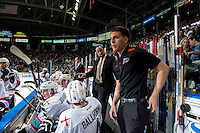 KELOWNA, CANADA - APRIL 22: Kris Mallette, assistant coach of the Kelowna Rockets speaks to players on the bench against the Seattle Thunderbirds on April 22, 2016 at Prospera Place in Kelowna, British Columbia, Canada.  (Photo by Marissa Baecker/Shoot the Breeze)  *** Local Caption *** Kris Mallette;
