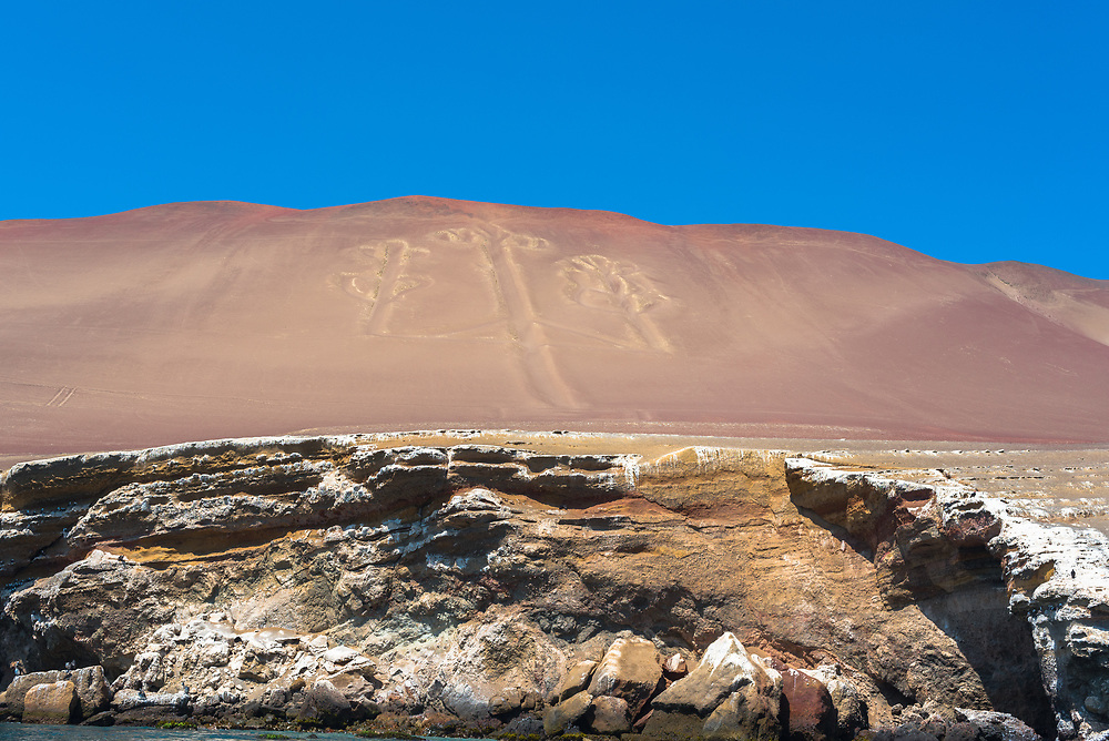 Shot  of a replication of the famous Nazca Lines in Peru, seen from the Pacific Ocean.