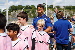 Marco Mama looks on as Local Junior Schools take part in activities on the iconic Clifton Suspension Bridge with Bristol Rugby Players - Mandatory byline: Rogan Thomson/JMP - 07966 386802 - 14/07/2015 - SPORT - RUGBY UNION - Bristol, England - Clifton Suspension Bridge - Webb Ellis Cup visits Bristol as part of the 2015 Rugby World Cup Trophy Tour