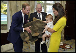 Prince George looks delighted after he received a giant stuffed wombat gift from the Governor-General Sir Peter Cosgrove at Admiralty House, Sydney as The Duke and Duchess of Cambridge arrive at Sydney airport, Australia, with Prince George on day 10 of their Royal Tour of New Zealand and Australia, Wednesday, 16th April 2014. Picture by Commonwealth of Australia and Auspic,/  i-Images