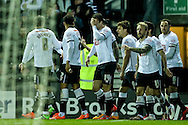 Derby players celebrate a goal by Jacob Butterfield of Derby County (not shown) during the Sky Bet Championship match at the iPro Stadium, Derby<br /> Picture by Andy Kearns/Focus Images Ltd 0781 864 4264<br /> 24/02/2016