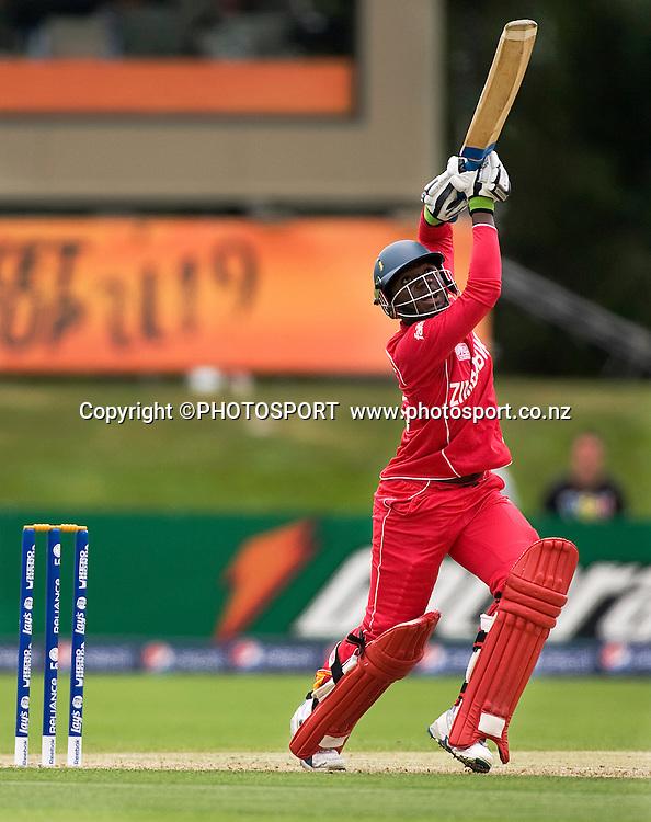 Natsai M'shangwe batting during his innings of 25 for Zimbabwe. New Zealand v Zimbabwe, U19 Cricket World Cup group stage match, Bert Sutcliffe Oval, Lincoln, Tuesday 19 January 2010. Photo : Joseph Johnson/PHOTOSPORT