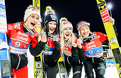 26.02.2019, Seefeld, AUT, FIS Weltmeisterschaften Ski Nordisch, Seefeld 2019, Skisprung, Damen, Siegerehrung, im Bild Silbermedaillengewinnerin Eva Pinkelnig (AUT), Jacqueline Seifriedsberger (AUT), Chiara Hoelzl (AUT), Daniela Iraschko-Stolz (AUT) // Silver medalist Eva Pinkelnig Jacqueline Seifriedsberger Chiara Hoelzl Daniela Iraschko-Stolz of Austria during the winner ceremony for the ladie's Skijumping HS109 competition of FIS Nordic Ski World Championships 2019. Seefeld, Austria on 2019/02/26. EXPA Pictures © 2019, PhotoCredit: EXPA/ Stefan Adelsberger