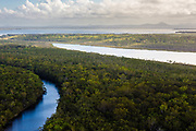 Aerial photograph of the Noosa River, Lake Como & Lake Cootharaba, Great Sandy National Park, Sunshine Coast, Queensland, Australia